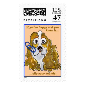 Clip Your Hounds Spaniel Custom Postage Stamps