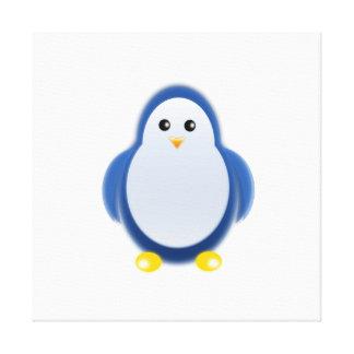 Clipart azul del pingüino impresiones en lona estiradas