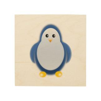 Clipart azul del pingüino impresión en madera