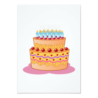 Clipart de la torta de cumpleaños invitación 12,7 x 17,8 cm