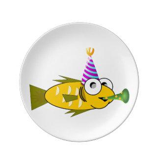 Clipart de los pescados del cumpleaños plato de cerámica