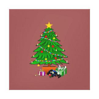 Clipart del árbol de navidad y de los regalos impresiones en lona estiradas