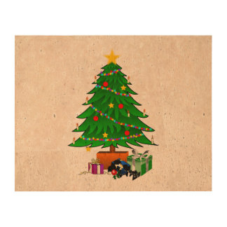 Clipart del árbol de navidad y de los regalos papel de corcho para fotos