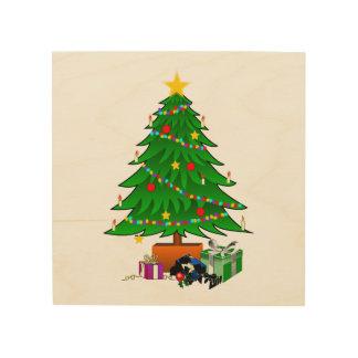 Clipart del árbol de navidad y de los regalos cuadro de madera