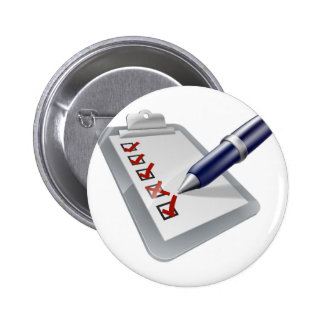 Clipboard and pen icon pin