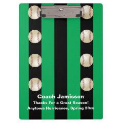 Clipboard, Black and Green Stripe, Baseball Coach