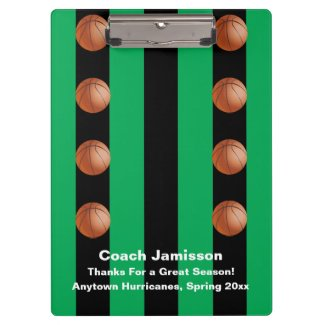 Clipboard Black and Green Stripe, Basketball Coach