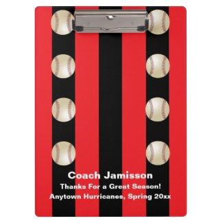 Clipboard, Black and Red Stripe, Baseball Coach