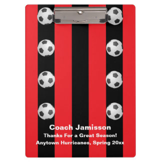 Clipboard, Black and Red Stripe, Soccer Coach Clipboard