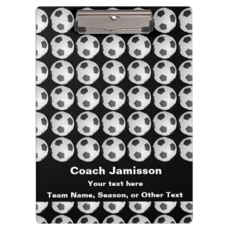 Clipboard Black with Soccer Ball Pattern for Coach