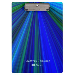 Clipboard, Blue and Green Starburst, #1 Coach