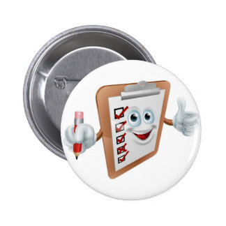 Clipboard character pinback buttons