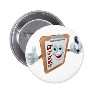 Clipboard mascot with pen badges