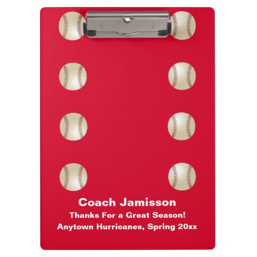 Clipboard, Red, for Baseball Coach