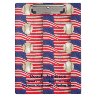 Clipboard Repeating American Flags, Baseball Coach