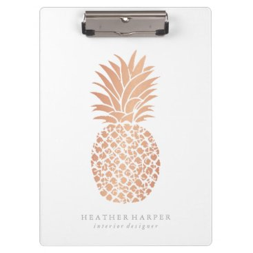 Professional Business Clipboard - Rose Gold Pineapple