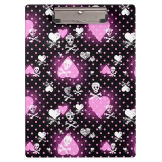 Clipboard/Skulls, Crossbones, Hearts and Polka Dot Clipboard