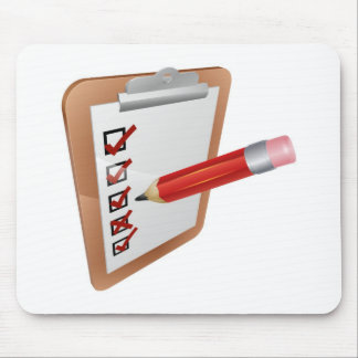 Clipboard survey and pencil icon mousemat