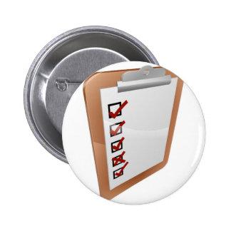 Clipboard survey illustration pinback button