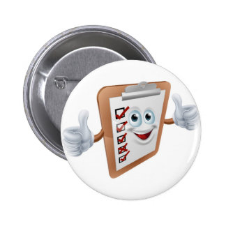 Clipboard survey mascot button