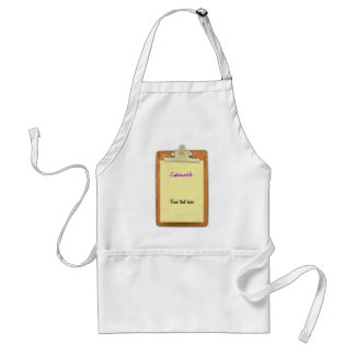 Clipboard with Yellow Lined Paper Adult Apron