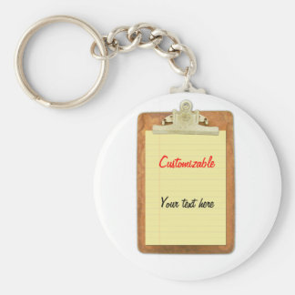 Clipboard with Yellow Lined Paper Basic Round Button Keychain