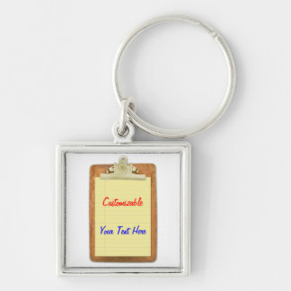 Clipboard with Yellow Lined Paper Silver-Colored Square Keychain