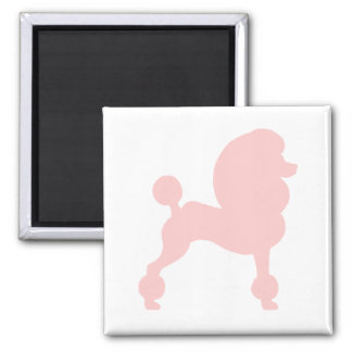 Clipped Standard Poodle (in light pink) 2 Inch Square Magnet