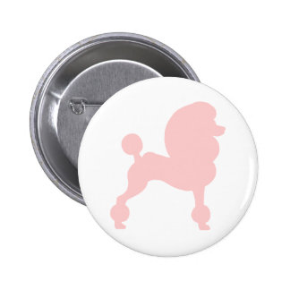 Clipped Standard Poodle in light pink Pinback Button