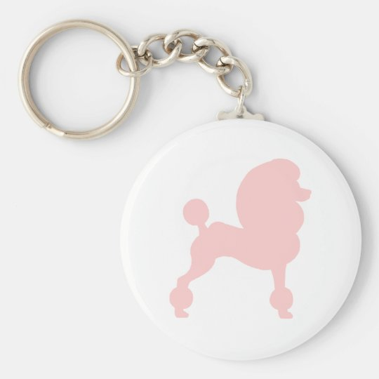 Clipped Standard Poodle (in light pink) Keychain