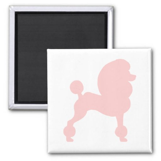 Clipped Standard Poodle (in light pink) Magnets