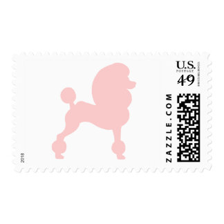 Clipped Standard Poodle (in light pink) Postage Stamp