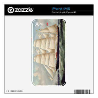 Clipper Barque 'Clendovey' (oil on canvas) Decals For The iPhone 4S