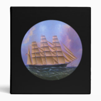 Clipper Sailboat in Purple Waters 3 Ring Binder