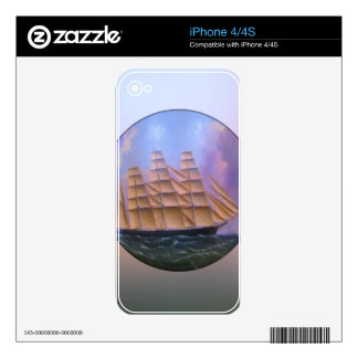 Clipper Sailboat in Purple Waters Decal For The iPhone 4