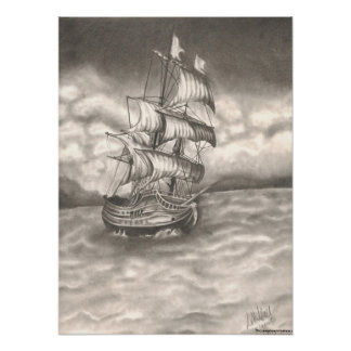 Clipper Ship Graphite Portrait Print. Poster
