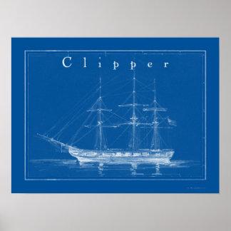 Clipper Ship  Nautical Poster Art