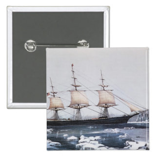 """Clipper Ship """"Red Jacket"""" Pinback Button"""