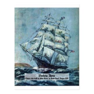 Clipper Ship Western Shore Post Card
