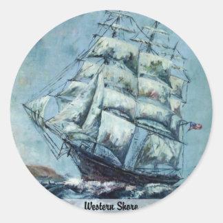 Clipper Ship Western Shore Round Stickers