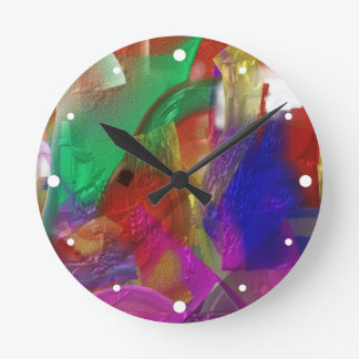 Clippings - Colorful Abstract Painting Round Clock