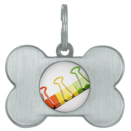 clips coloridos de la diversión placa de nombre de mascota