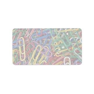Clips de papel coloreados etiqueta de dirección