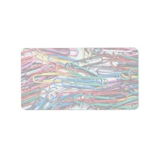 Clips de papel coloreados hermosos etiqueta de dirección
