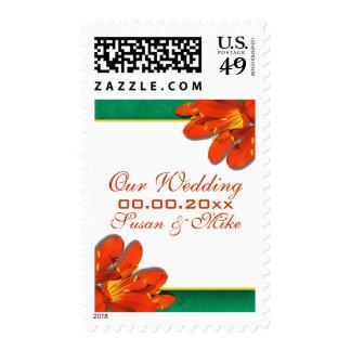 Clivia verde anaranjado del país del boda sellos