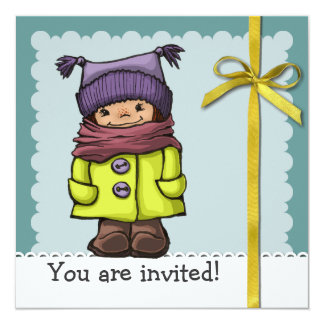 """Clo en invierno invitación 5.25"""" x 5.25"""""""