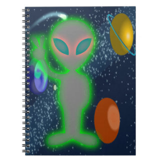 Cloaked Glowing Peace Space Alien Note Books