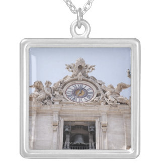 Clock and Bell, Vatican City, Rome, Italy Silver Plated Necklace