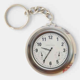 Clock and Currency Basic Round Button Keychain
