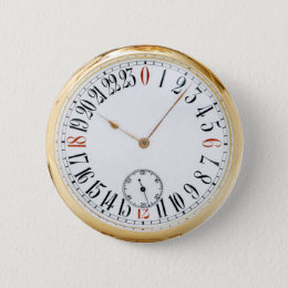 Clock Antique Pocket Watch Pinback Button
